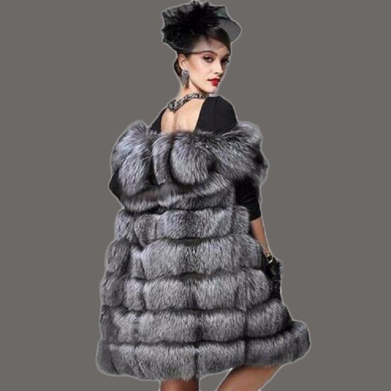 faux fur 2017 new long faux fur coat women s fur vest integral skin silver fox