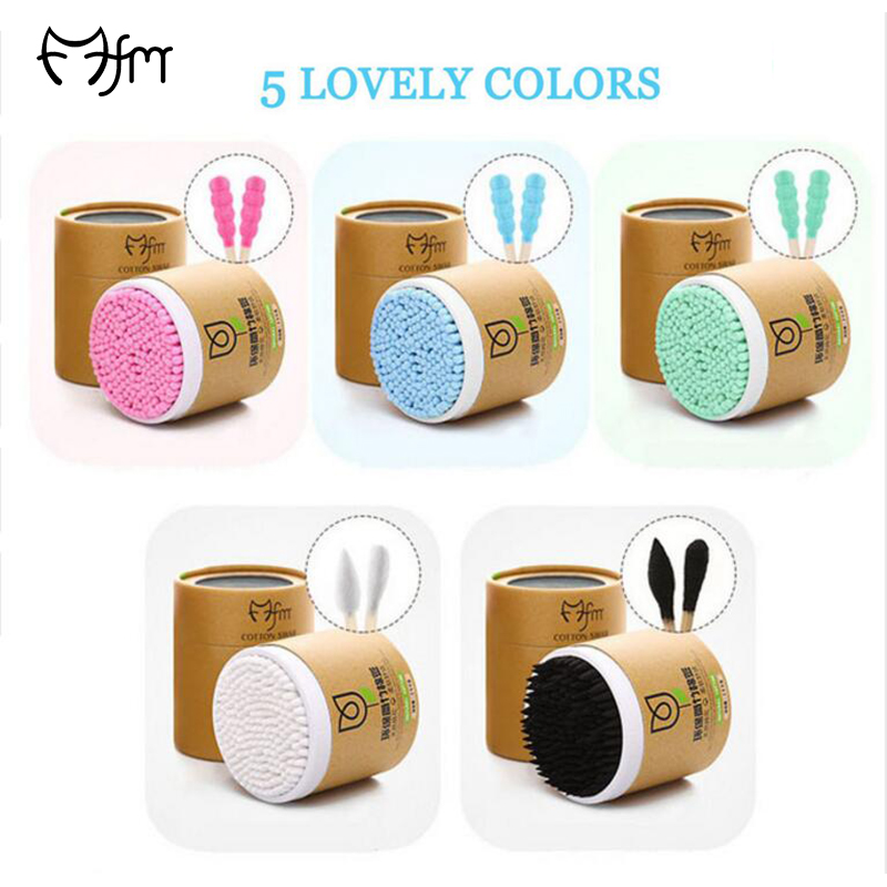 FM 200pcs Bamboo Cotton Swab Wood Sticks Soft Cotton Buds cleaning of ears Tampons Microbrush Cotonete pampons health beauty