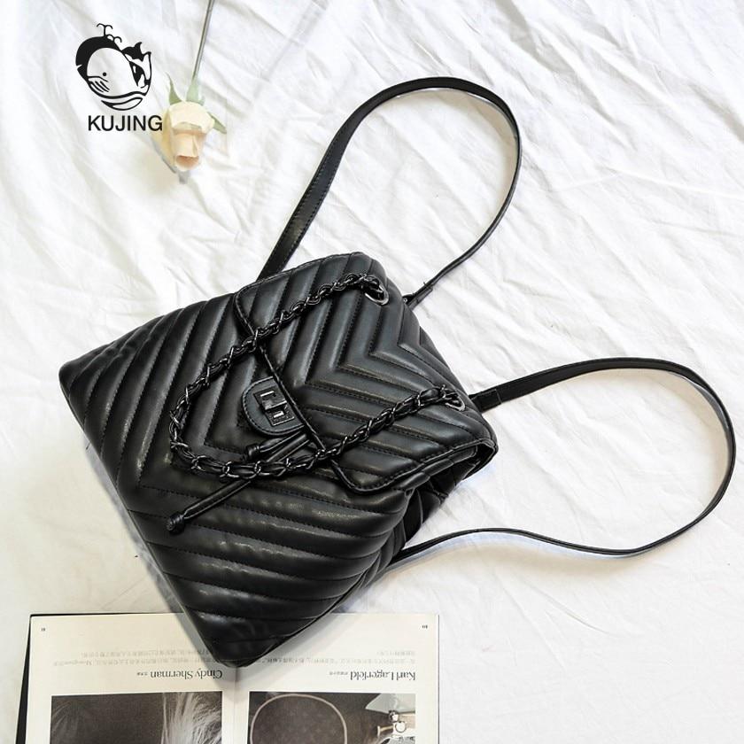 KUJING Women Backpack Luxury PU Women Multipurpose Backpack High Quality Lingge Black Backpack Hot Women Travel Leisure Backpack