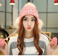 Ladies Knit Hats for Women Beanies Caps Pearls Diamond Touca Knitted Cap with Ear Flaps Fur Pom Pom Hats