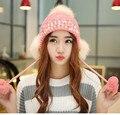 Señoras Sombreros De Punto para Mujeres Gorros Gorras Touca Gorro de Punto con Orejeras de Piel de Diamante Perlas Pom Pom Sombreros