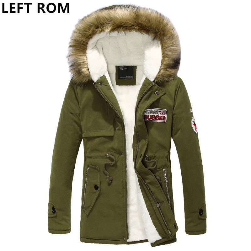 LEFT ROM 2018 Male winter New pattern Keep warm Mens cotton padded clothes Long sleeve printing fashion Large Jacket Mens coat