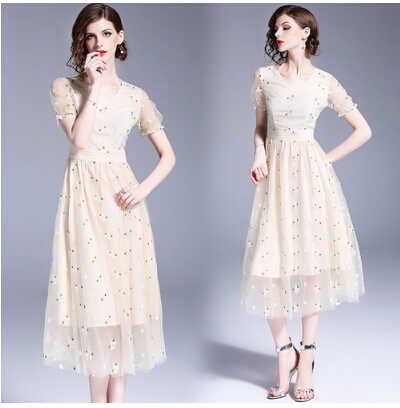 SMTHMA 2019 Новое поступление Сетчатое платье с вышивкой сексуальное летнее платье с v-образным вырезом и коротким рукавом vestidos