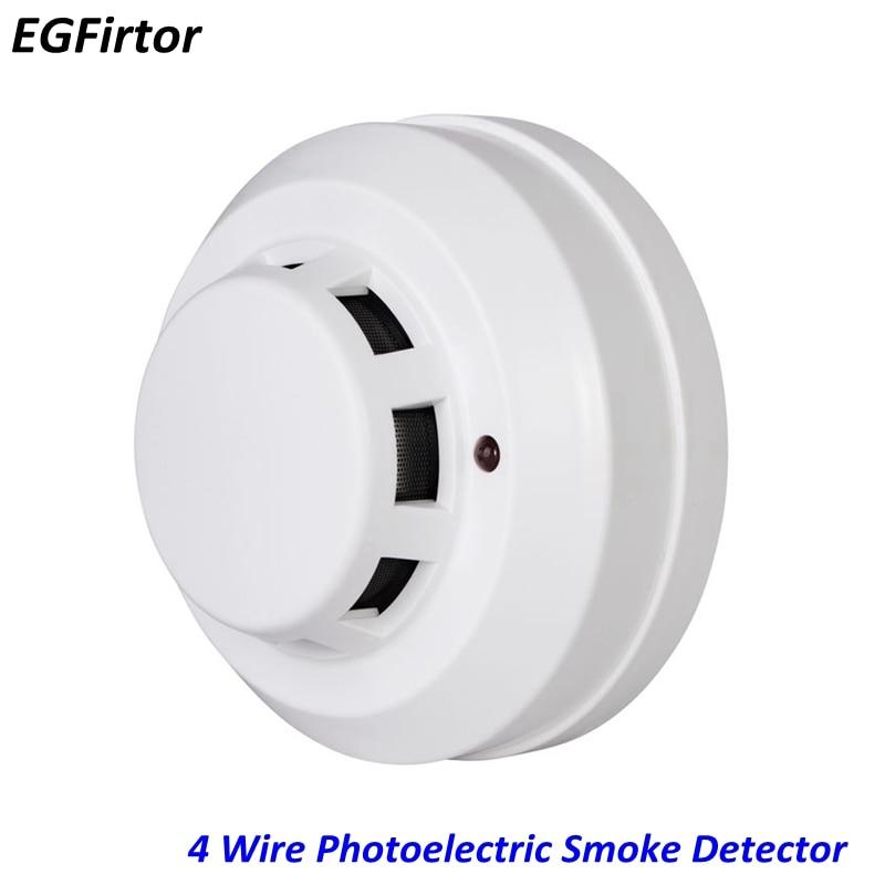 2pcs NC NO Dry Contact Relay Output Fire Alarm Photoelectronic Smoke Detector