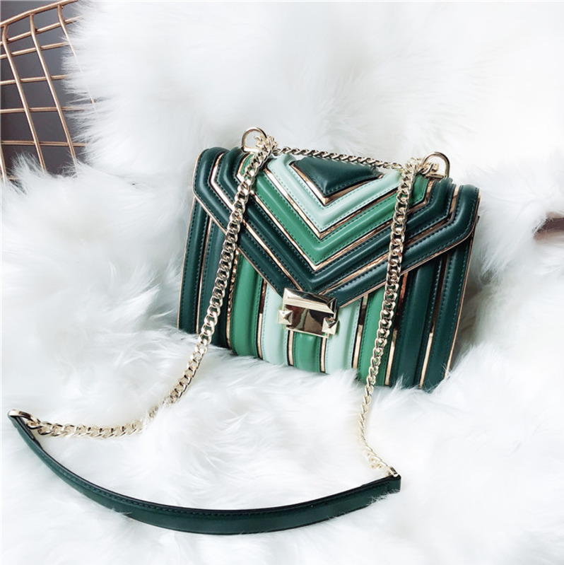 BXX Sac / 2019 Fashion Luxury Handbags Women Designer Leather Chain Lingge One shoulder Slung Hit Color Small Square Bag ZC740-in Shoulder Bags from Luggage & Bags    3