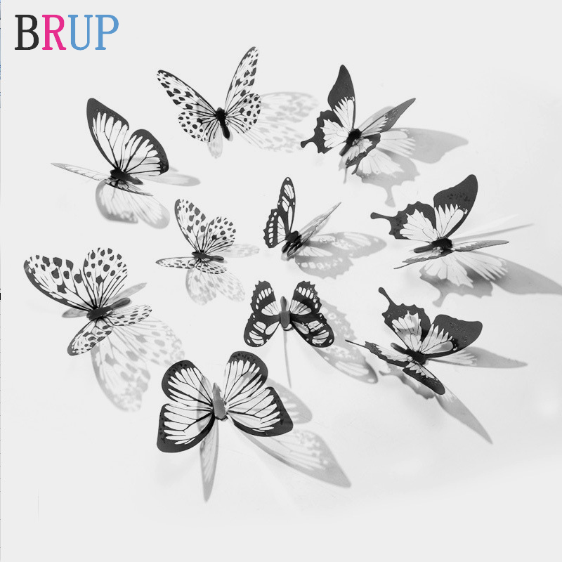 New 18pcs/lot Crystal Butterflies 3d Wall Sticker Beautiful Butterfly Living Room For Kids Room Wall Decals Home Decoration