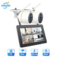 Wheezan Wireless Security Camera System CCTV 1080P Wifi NVR With 7 Inch LCD Video Surveillance Kit Cameras Home Two way Audio