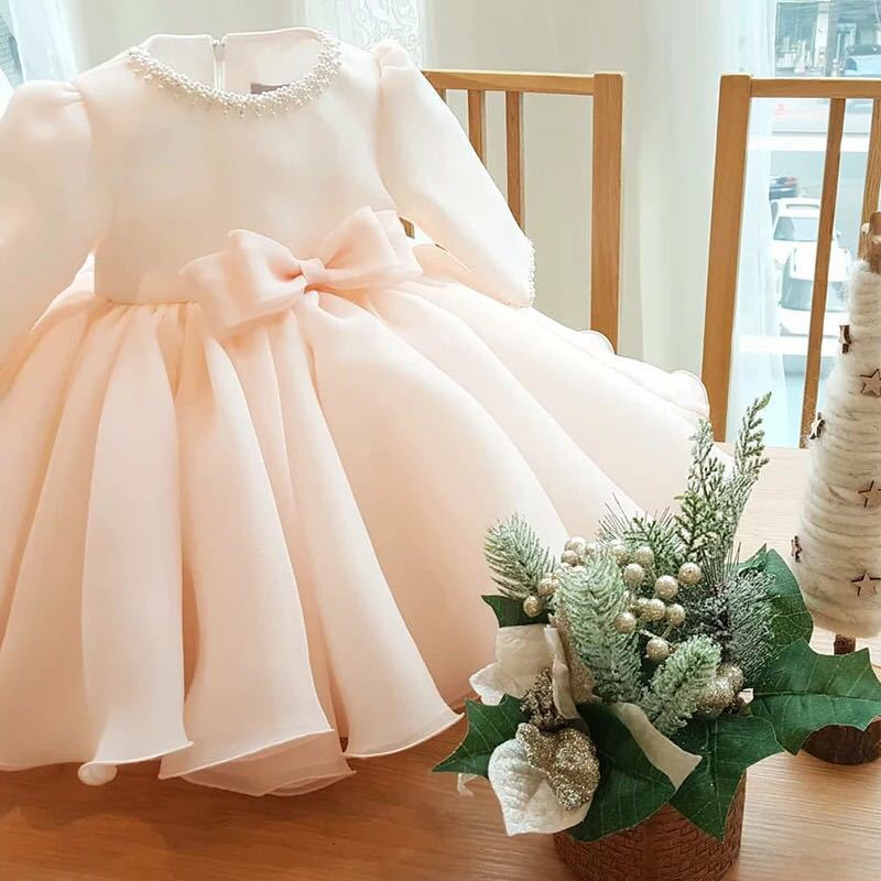 Lace Baby Girl Dress Beaded Baby Girls Birthday Dress Kids Clothes Long Sleeve Infant Party Vestido Baby Christening Gowns Dress