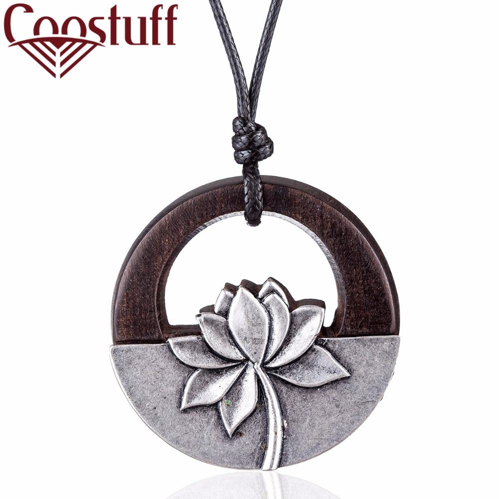 Beautiful Women Jewelry Necklaces Black sandalwood Flower Pendant Long necklace women collares mujer choker kolye bijoux femme