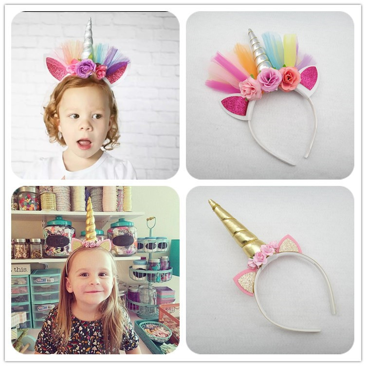 1PC Pony Ear Hairband Unicorn Horn Headband Halloween Hair Band Christmas Headwear Kids Birthday Party Gift Hair Accessories