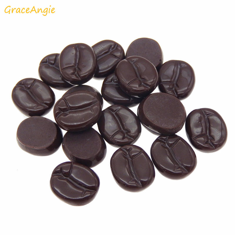 GraceAngie 10pcs 13*16mm Imitation Resin Coffee Beans Flatback Caobhons For Jewelry Making Home Decor DIY Crafts Ornament(China)