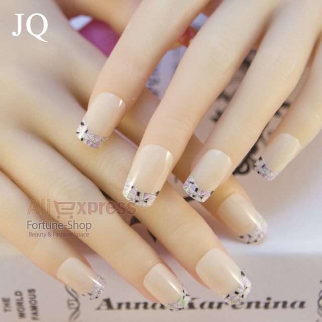Jq 24pcs Acrylic Pre Designed False Nail Tips Decorated Material With Dark Purple Color Free Glue