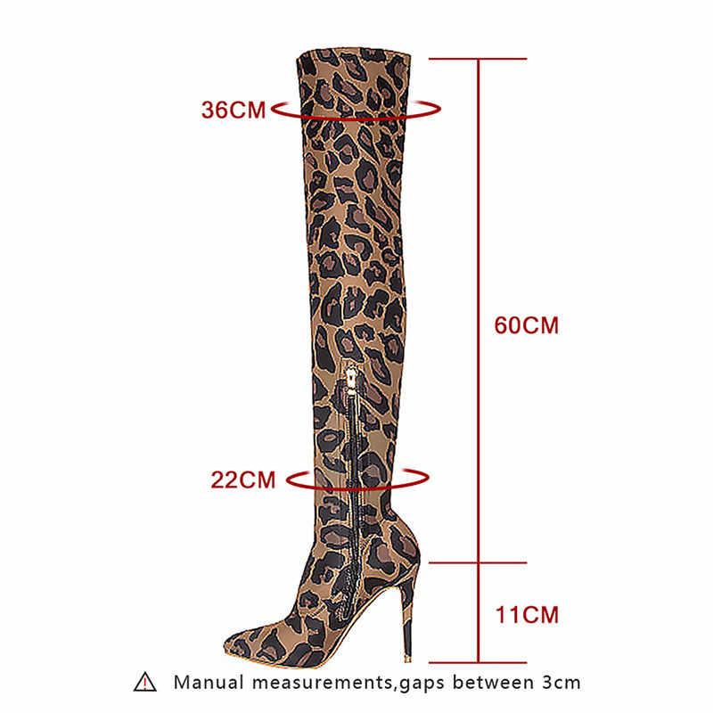 Asumer moda yeni diz üzerinde çizmeler kadın sivri burun zip ince yüksek topuklu ayakkabılar Leopar Baskı zarif balo kadınlar çizmeler