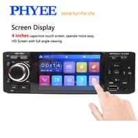 PHYEE Indash 4 Touchscreen Mirrorlink Car Radio Audio Bluetooth Autoradio Stereo MP5 MP4 USB MP3 TF ISO 1 Din In Dash 3001