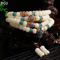 JINSE Fashion White Bodhi Beads and Chinese Cloisonne Beaded National Style 108 Buddha Beads Bracelet Jewelry Handmade FDB008
