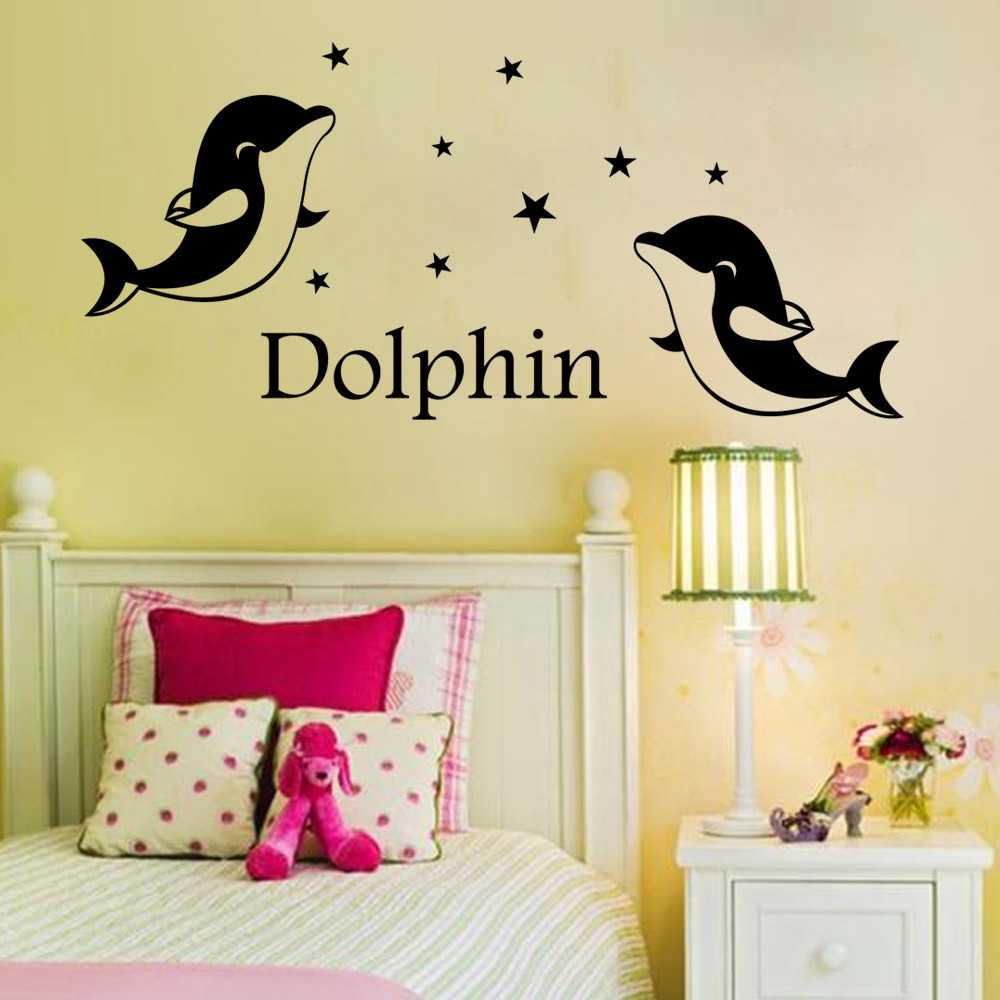 Custom made Personalized lovers wedding cute dolphin Wall Sticker ...
