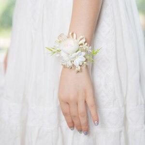 Image 3 - JaneVini 2019 新しい人工花花嫁花婿ブートニエールコサージュ白手首の花セット結婚式のコサージュと Boutonnieres