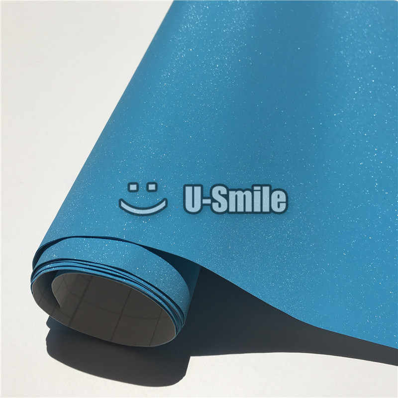 High Quality Baby Blue Glitter Sandy Diamond Vinyl Film Sheet Decal Bubble Free For Phone font