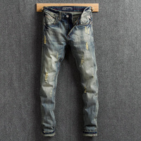 Italian Vintage Style Men Jeans Retro Washed Slim Fit Ripped Jeans Denim Distressed Pants Brand Designer Classical Jeans Men