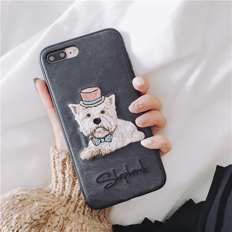 West highland white terrier broderie chien couverture pour apple iPhone 6 6 s plus 5.5 iPhone7 7 plus 8 8 P X souple mobile téléphone cas capa