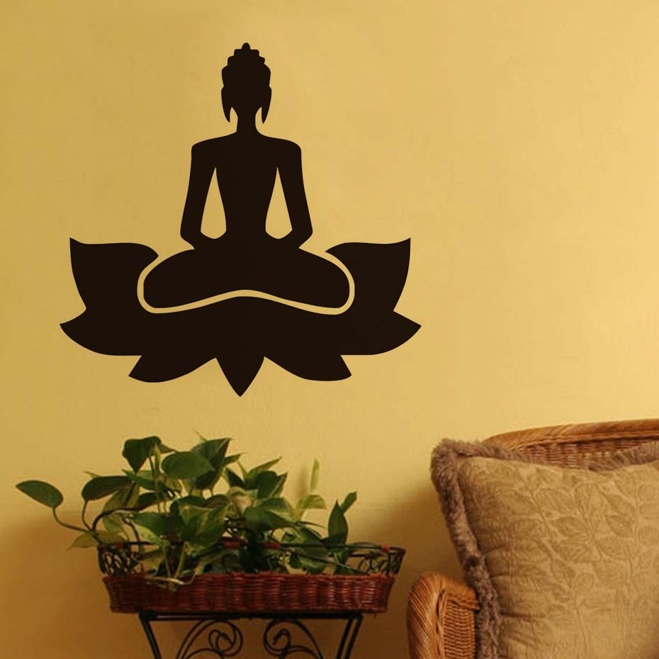 Meditate Yoga Lotus Pose Wall Sticker Removable Art Vinyl Wall Decal ...