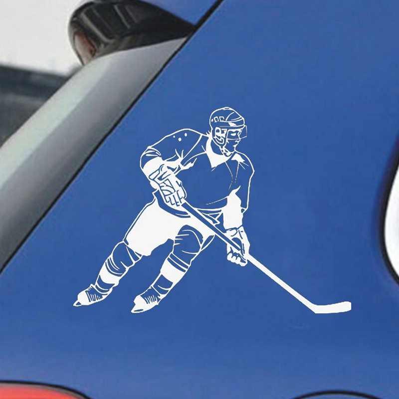 黒、白 13 センチメートル * 9.cm アイスホッケースポーツカースタイリングファッション車の窓のステッカー