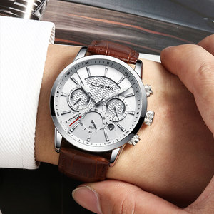 Image 2 - CUENA Luxury Men Watches Leather Strap Stopwatch Luminous Hands Calendar 30M Waterproof Mens Wristwatch Quartz Male Watch Brown