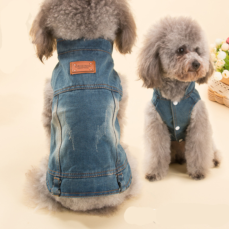 US $8 77 25% OFF|Fashion Cowboy Clothes For Dog Coat Apperal For Small  Bichon Frise Puppy Jean Pet Jacket Dog Clothes For Yorkshire S M L  Spring-in
