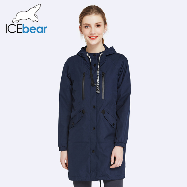 ICEbear 2017 High Quality Spring Autumn New Casual Womens Fashion Long Trench Coat Full Sleeve For Lady
