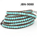 new arrival Bohemia style fashion jewelry  4mm Natural turquoise weaving  brown leather wrap bracelet  bangle for women JBN-9080
