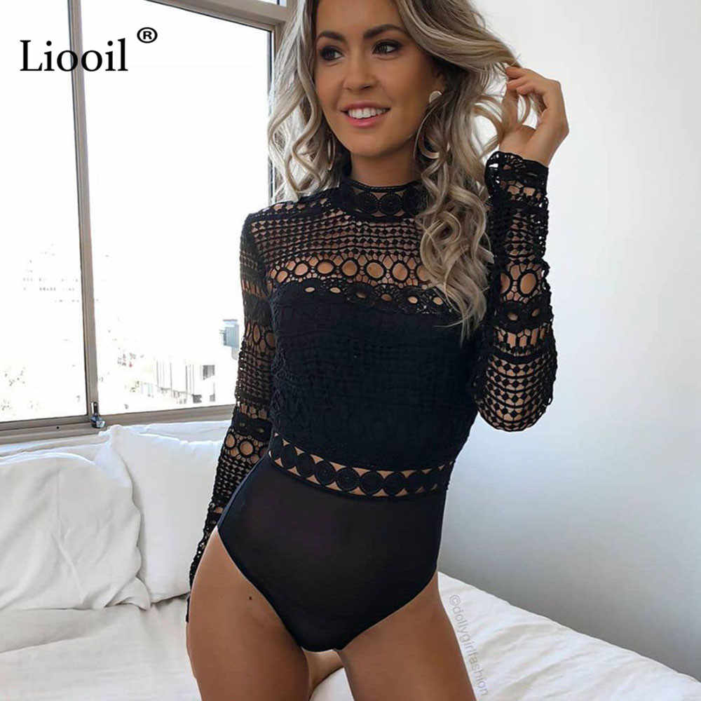 Liooil Black White Bodycon Mesh Patchwork Lace Bodysuit Women Long Sleeve  Hollow Out Sexy Clubwear 2018 71e46cac5