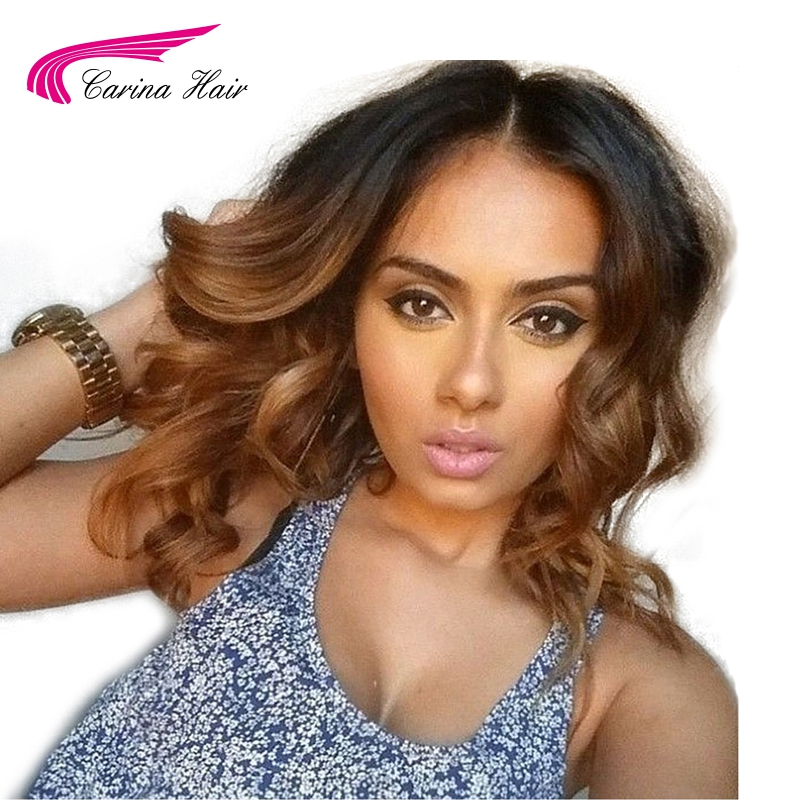 Carina Ombre 1b30 Lace Front Human Hair Wigs with Baby Hair Pre Plucked Hairline Remy Brazilian