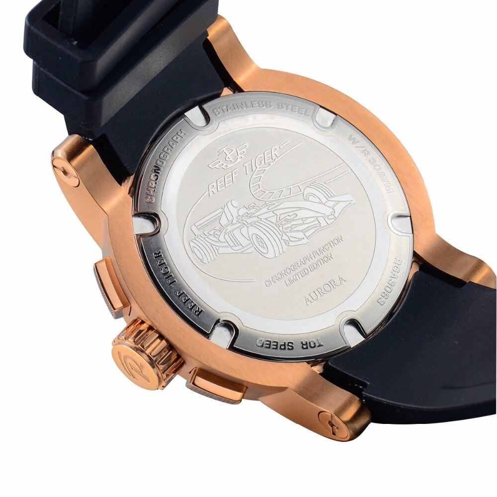 2019 Reef Tiger/RT relojes deportivos de diseño para hombres reloj de cuarzo de oro rosa con cronógrafo y reloj de fecha hombre RGA3063 - 5