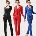 Novo 2016 coreano moda feminina Blazers com calças Slim negócios trabalho desgaste Pant ternos para escritório uniforme Style Ladies traje de passeio