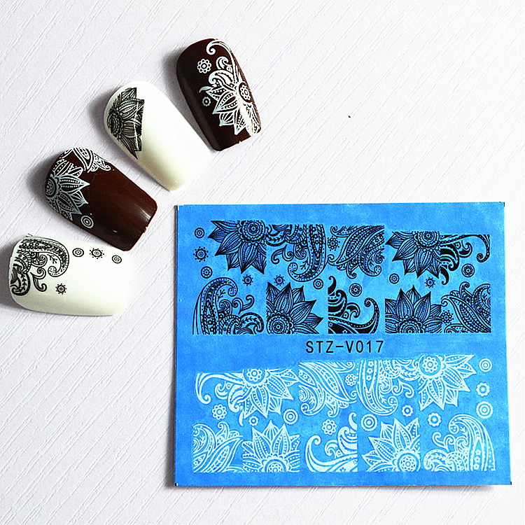 48 Sheets Flowers Lace Nail Art Water Transfer Decals