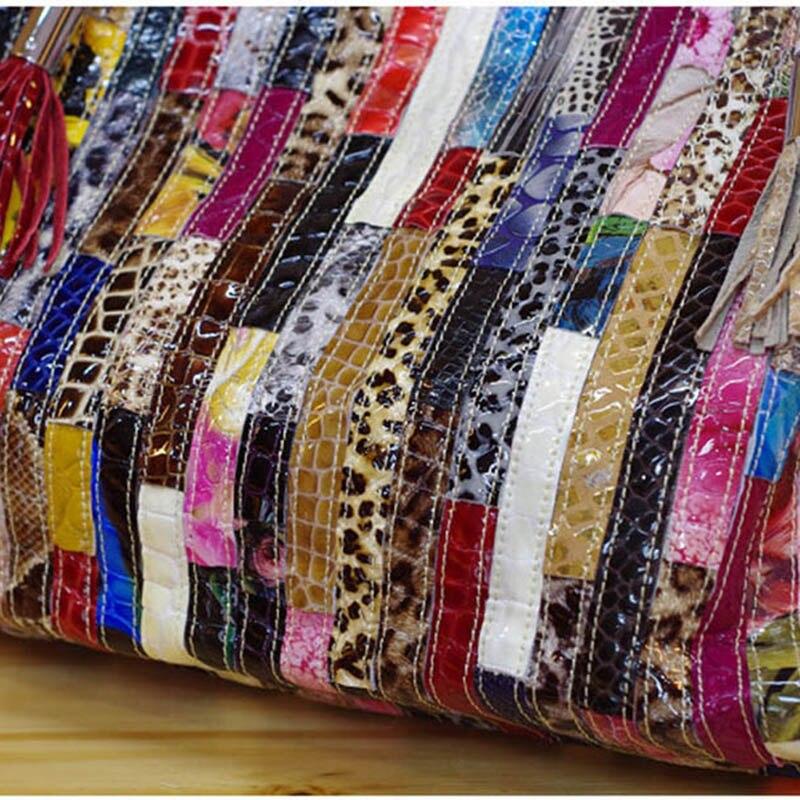 Bolsos de mano de cuero genuino de serpentina para Mujer nueva moda bolsas de mensajero de diseñador de marcas de lujo bolsas de hombro de Mujer calientes-in Cubos from Maletas y bolsas    2