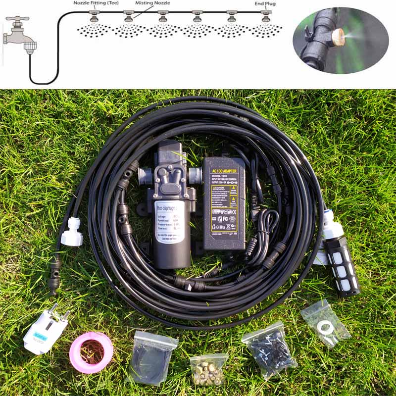 18M Water Mist Spray Electric Diaphragm Pump Kit Misting System Automatic Water Pump Sprayer with Brass Mist Nozzles  for Garden18M Water Mist Spray Electric Diaphragm Pump Kit Misting System Automatic Water Pump Sprayer with Brass Mist Nozzles  for Garden