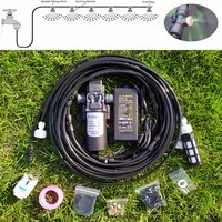 18M Water Mist Spray Electric Diaphragm Pump Kit Misting System Automatic Water Pump Sprayer with Brass Mist Nozzles for Garden