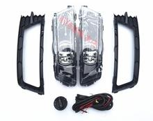 SMK fog lights font b lamp b font 2Pcs Grilles Cable Harness headlights switch complete Set