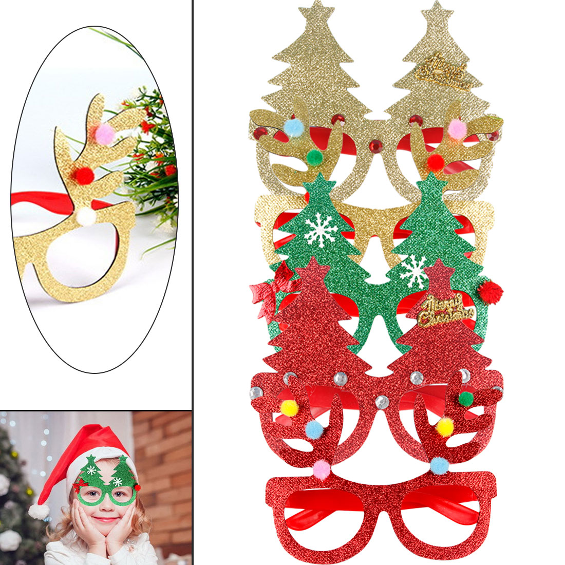 Devoted New Christmas Decoration Glasses Children Christmas Gifts Holiday Supplies Paper Led Party Creative Glasses High Safety Apparel Accessories