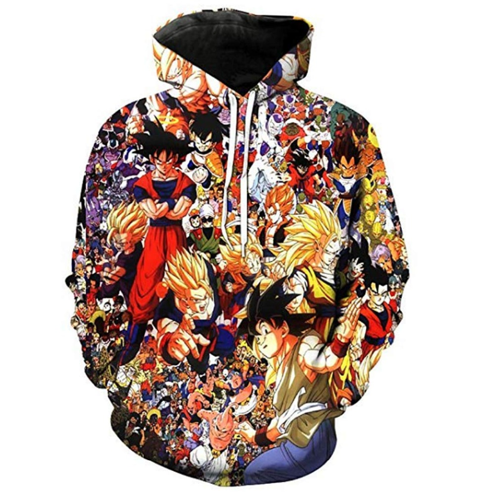 2019 Jackets&Coats Dragon Ball Z Hoodie Anime Son Goku Hooded 3d Printed Men Sweatshirts Harajuku men Hoodie US size