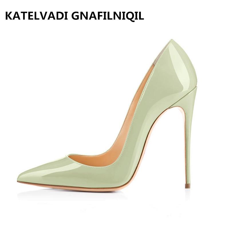 New Apple Green Shoes Woman 12CM High Heels Patent Leather Autumn Sexy Shoes For Women Heels Party Shoes FS-0110 green apple green apple квадратный горшок с автополивом на колесиках 45 45 42 красный