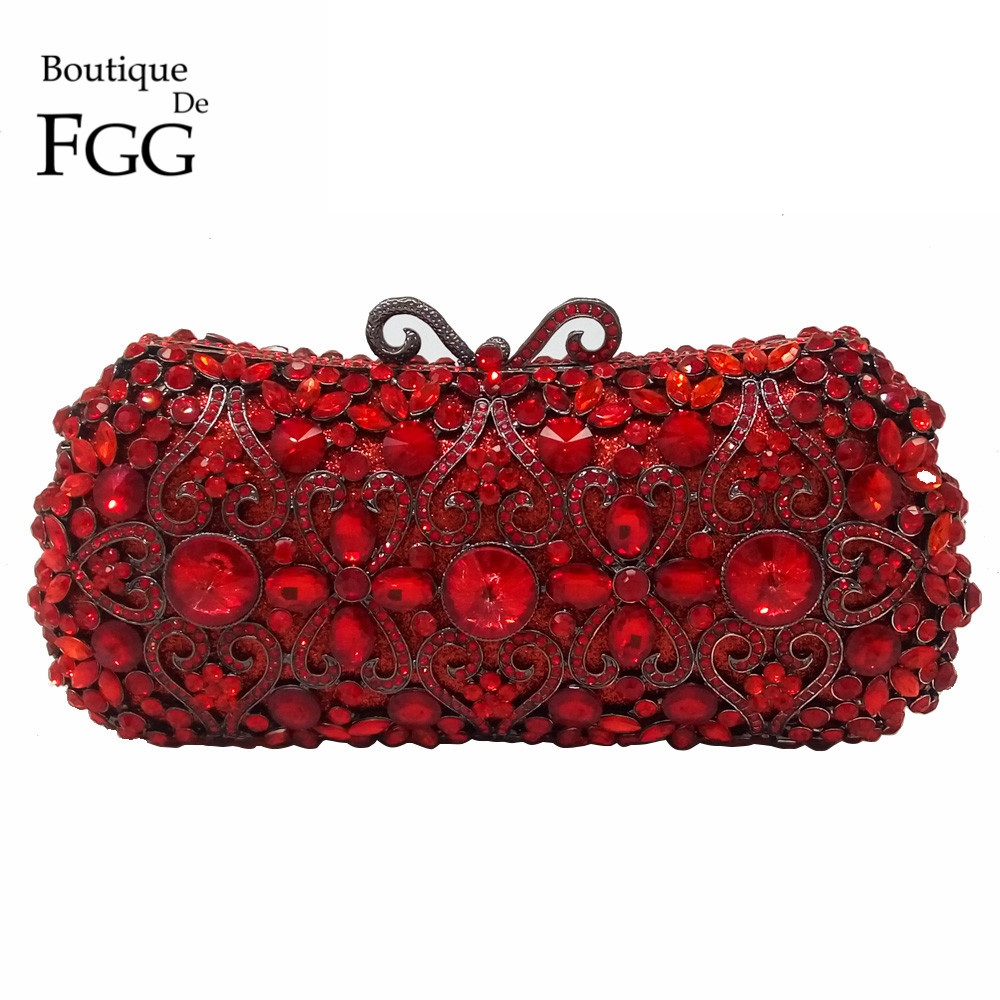 Boutique De FGG Red Ruby Crystal Diamond Women Metal Evening Clutches Bags Wedding Minaudiere Clutch Bridal