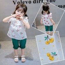2PCS/SET Baby Girls Summer Korean Cherry Print + Bloomer Pants Seven Pants Wide Leg Pants Suit Children Suit Sets Hot Sale недорого
