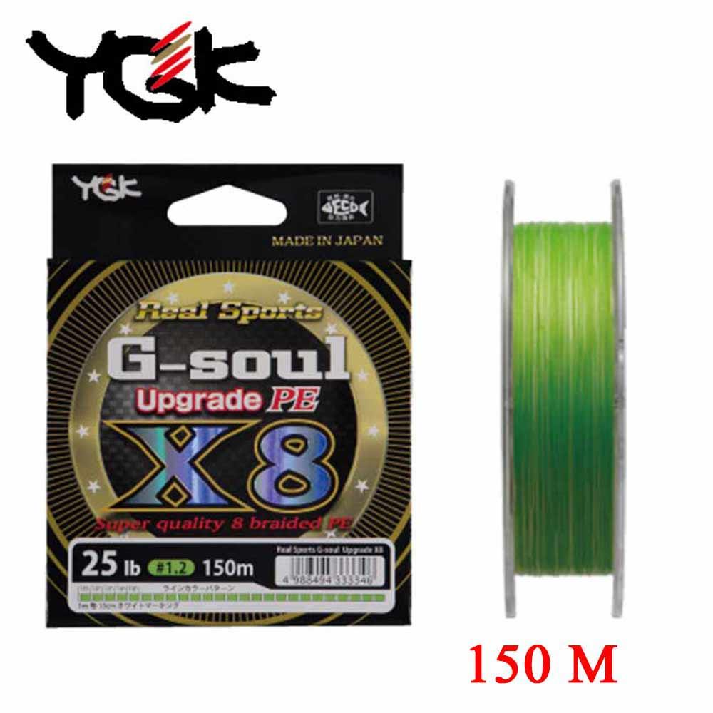 YGK G-SOUL X8 upgrade PE 8 Braid Original Made in Japan 150M Wearable high density Fishing line high strength aqua pe ultra elite m 8 yellow 150m 0 25mm 18 10kg
