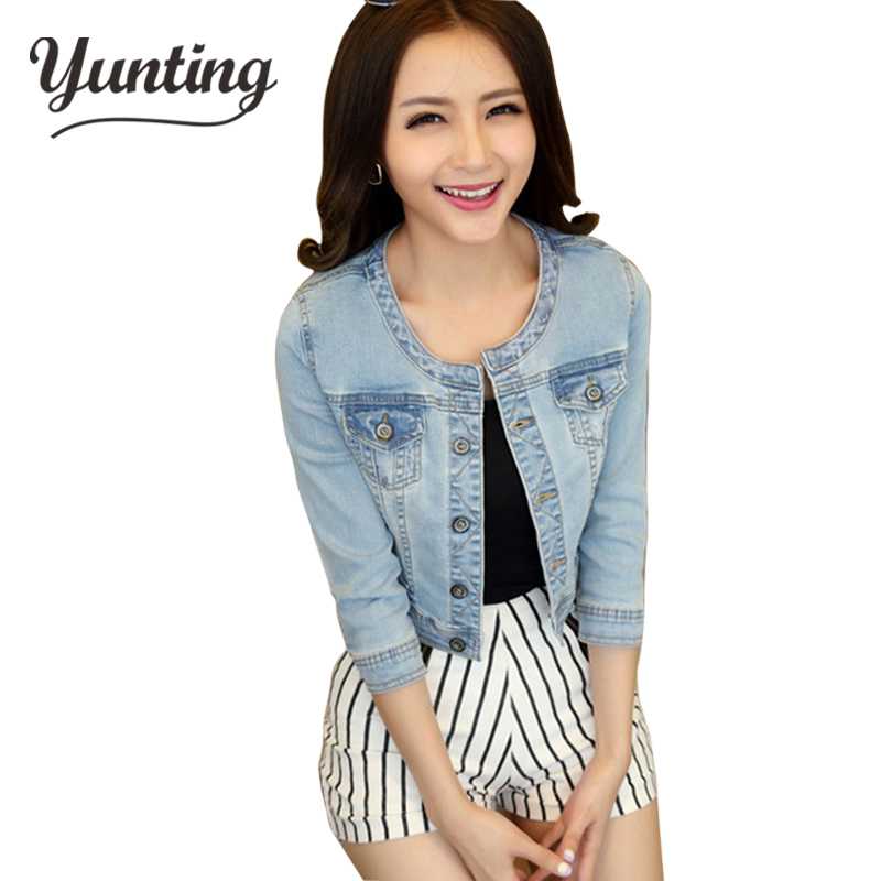 2019 Women Jeans Jacket Spring Autumn Coat Three Quarter Sleeve Short Denim Jacket Casacos Femininos Ladies Outerwear