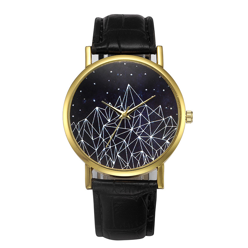 Honesty Fashion Womens Retro Design Leather Watches Ladies Elegant Stars Sky Pattern Dial Casual Quartz Wrist Watch Relogio Feminino #l Watches