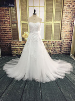 Elegant Cheap Lace Wedding Dress Sweetheart Appliques Beaded Tulle Bridal Gown A Line Chapel Train Bridal