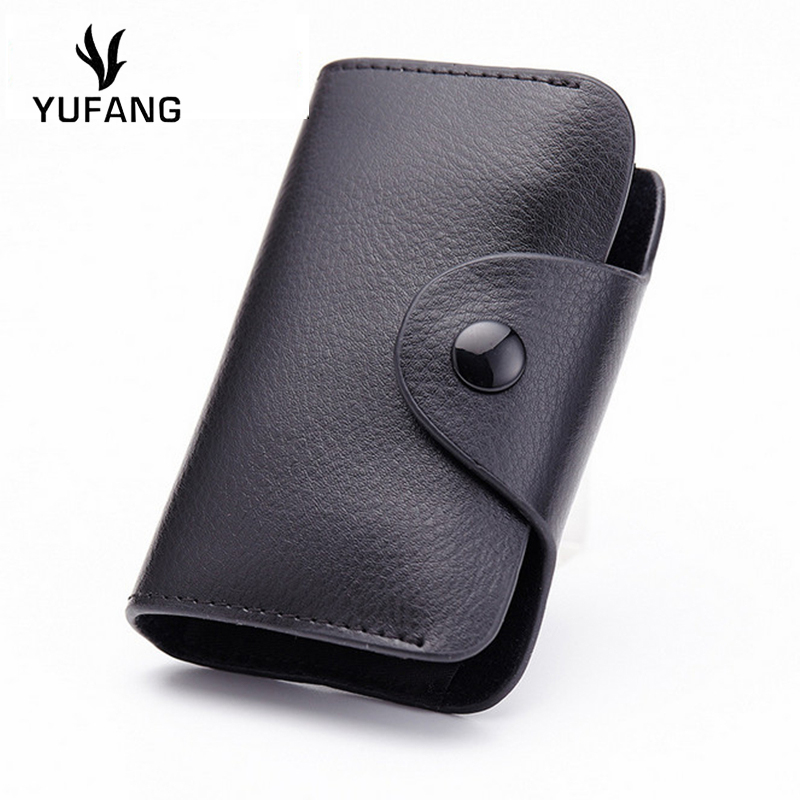 YUFANG Genuine Leather Business Card Wallet Women Solid Color ...
