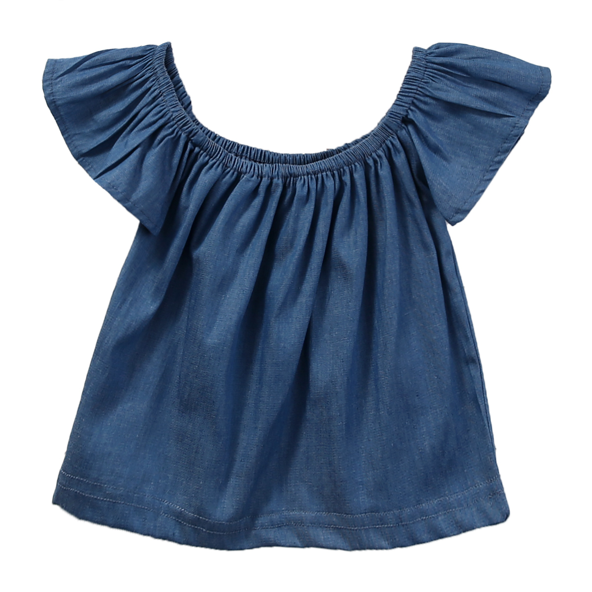 New Fashion Infant Toddler Baby Kid Girls Demin Casual Tops Ruffles Short Sleeve T-Shirt 0-4Y